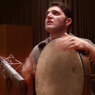 Picture of Petros Kourtis recording at Sierra Studios, Athens