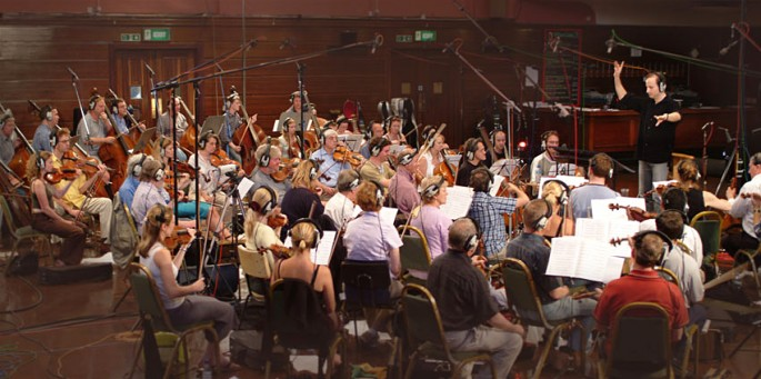 Picture of RPO string section recording at Watford Coliseum